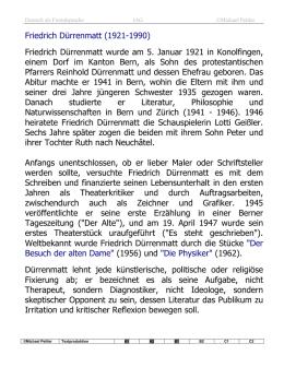 friedrich drrenmatt 1921 1990 friedrich drrenmatt wurde am 5 - Friedrich Durrenmatt Lebenslauf