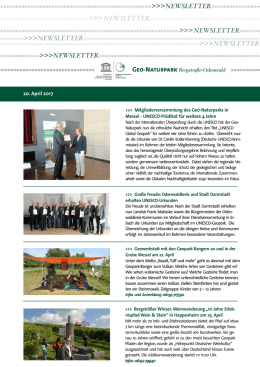 Newsletter April 2017 - Forum der UNESCO Globalen Geoparks