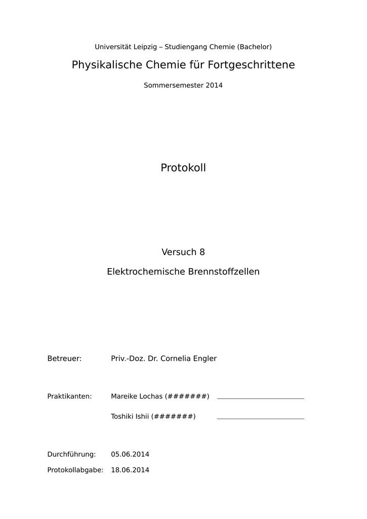 Protokoll physikalische chemie quiz ghostwriter