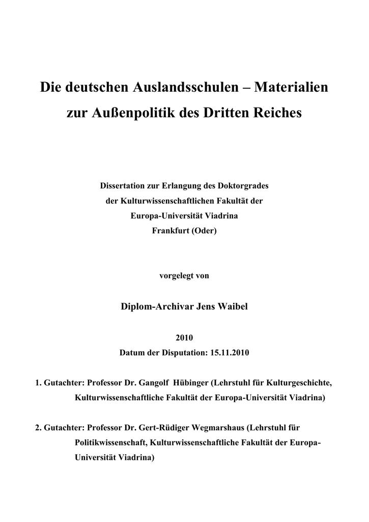 Die deutschen Auslandsschulen - Materialien zur Außenpolitik des