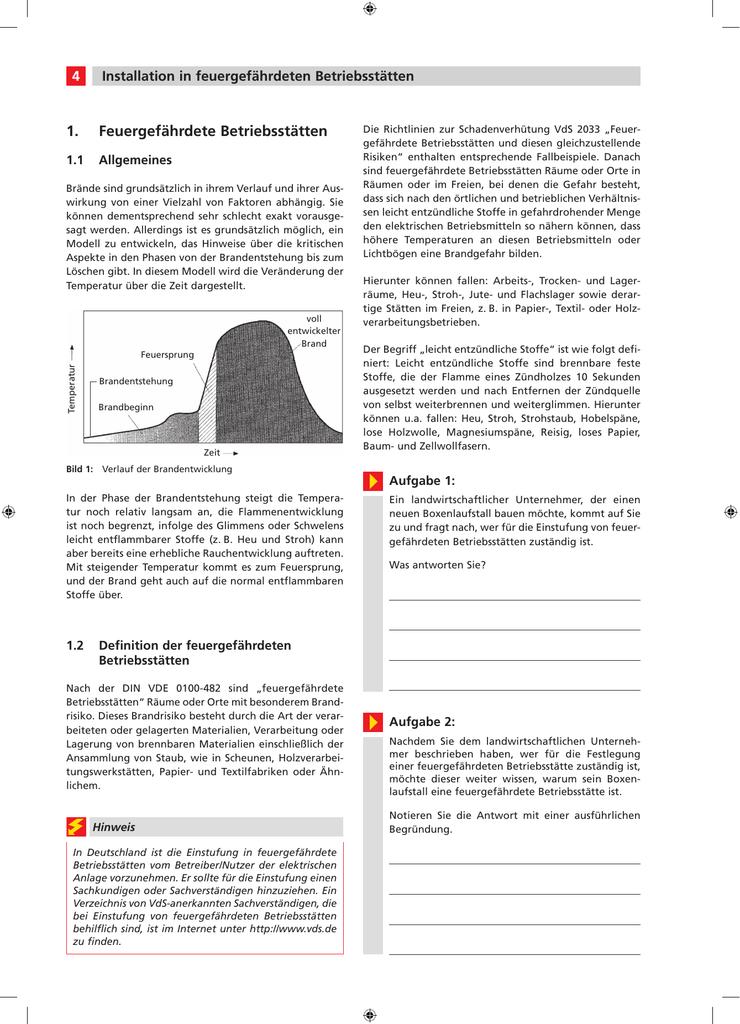 Feuergefährdete Betriebsstätten 1. - VH