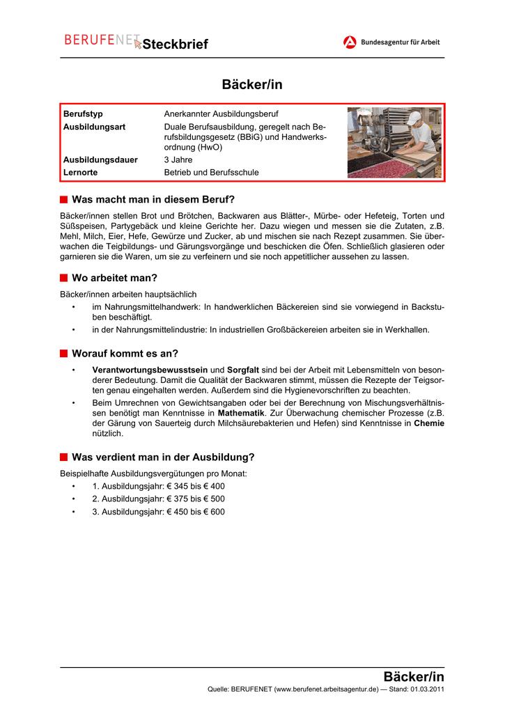 Infoblatt Zur Ausbildung Newzella Newzellas Backstube