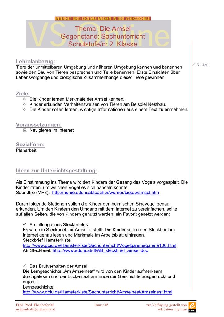 Thema: Die Amsel Gegenstand: Sachunterricht Schulstufe/n: 2. Klasse