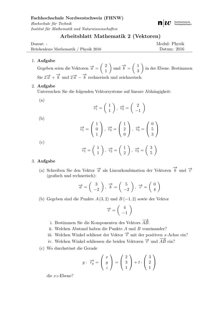 Arbeitsblatt Mathematik 2 (Vektoren)
