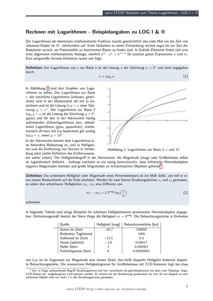 astro-STEOP Aufgaben zum Thema Logarithmen