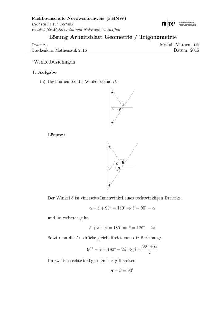 Lösung Arbeitsblatt Geometrie / Trigonometrie
