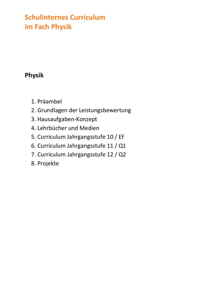 Schulinternes Curriculum im Fach Physik