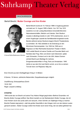 Bertolt Brecht / Mutter Courage und ihre Kinder