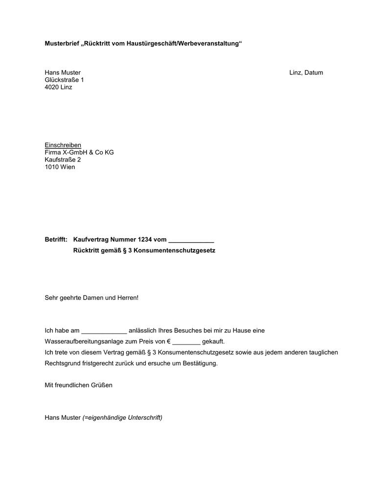 musterbrief rcktritt vom haustrgeschftwerbeveranstaltung - Rucktritt Vom Kaufvertrag Muster