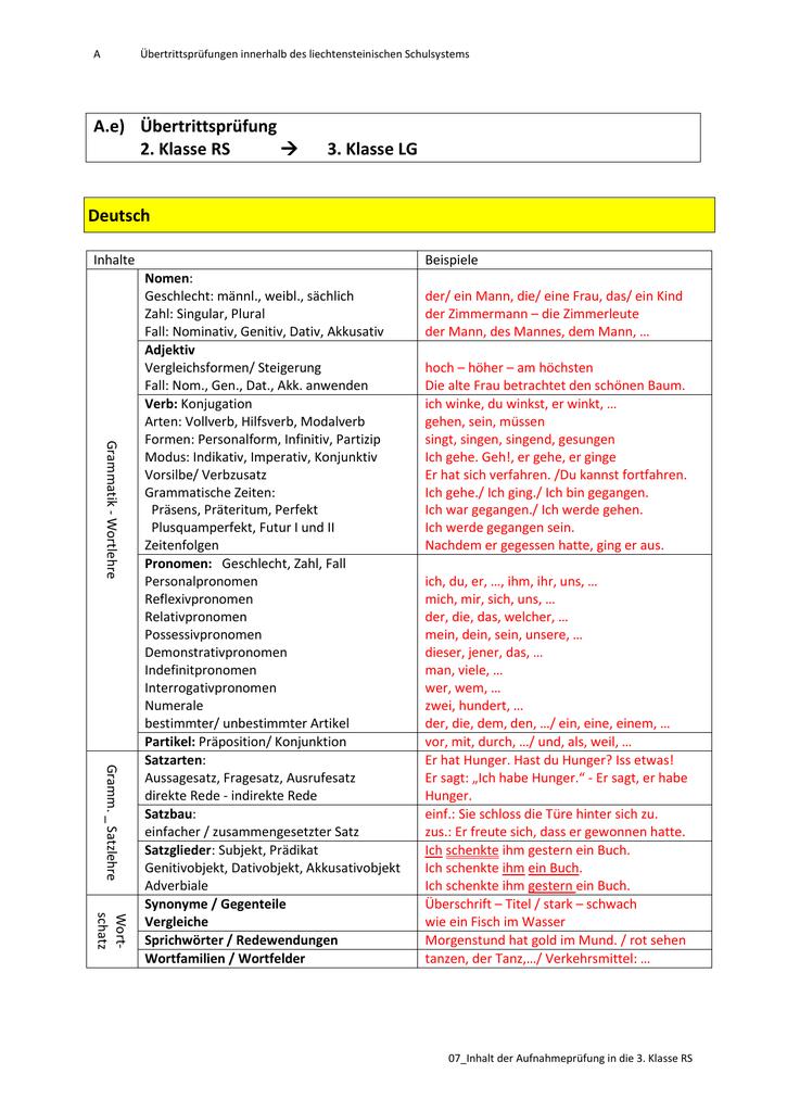 A.e) Übertrittsprüfung 2. Klasse RS → 3. Klasse LG Deutsch