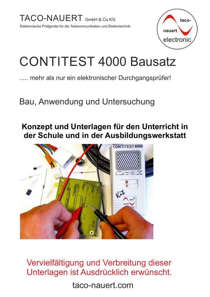 Arbeitsblätter zu Bausatz CONTITEST 4000 Kit - taco