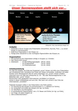 Arbeitsblatt - Die Erde im Sonnensystem - Weltkugel