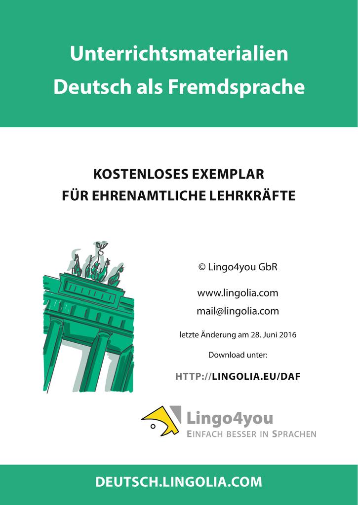 Unterrichtsmaterialien Deutsch als Fremdsprache