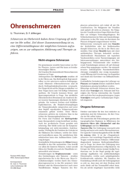 Ohrschmerzen - Swiss Medical Forum