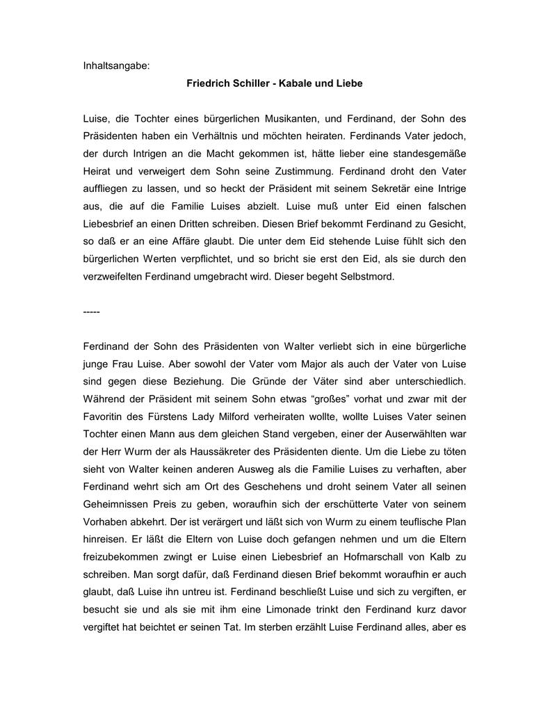 Inhaltsangabe Friedrich Schiller Kabale Und Liebe