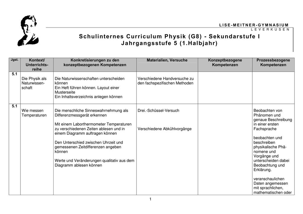 Schulinternes Curriculum Physik (G8)