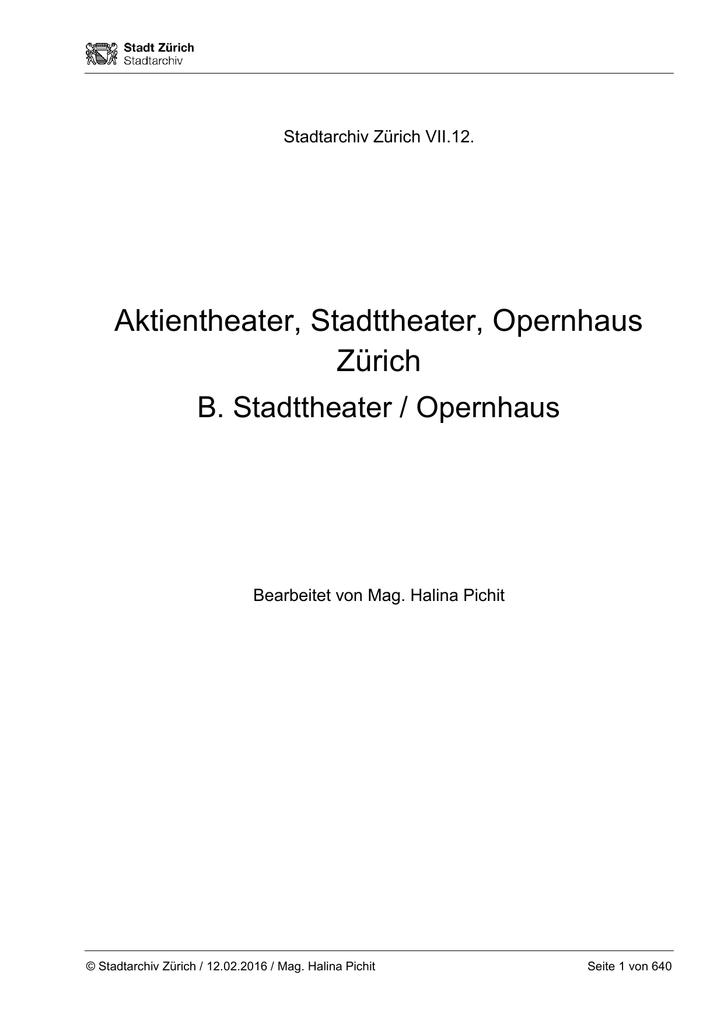 VII.12. B. Stadttheater, Opernhaus