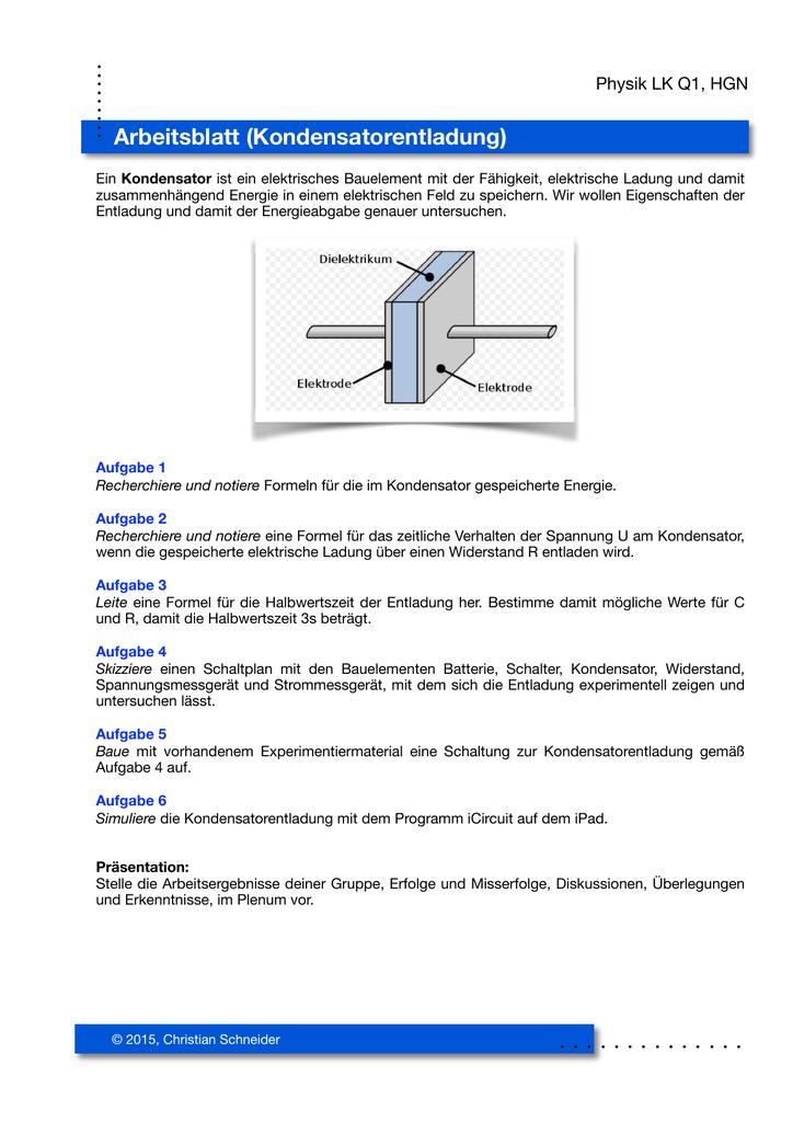 Arbeitsblatt Kondensatorentladung