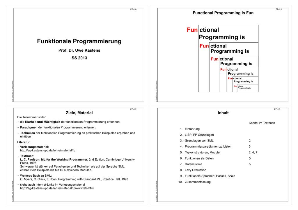 als PDF, 4 Folien/Seite - Fachgebiet Programmiersprachen