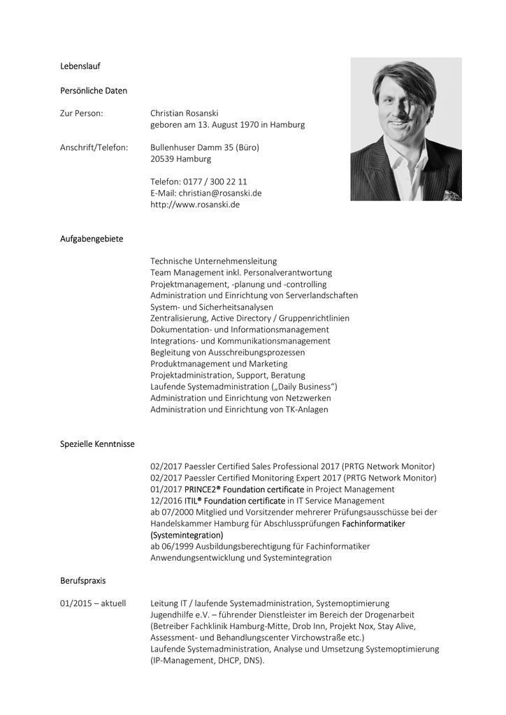 Lebenslauf Persönliche Daten Zur Person Christian Rosanski