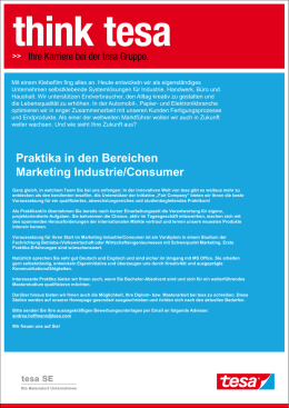 Praktika in den Bereichen Marketing Industrie/Consumer