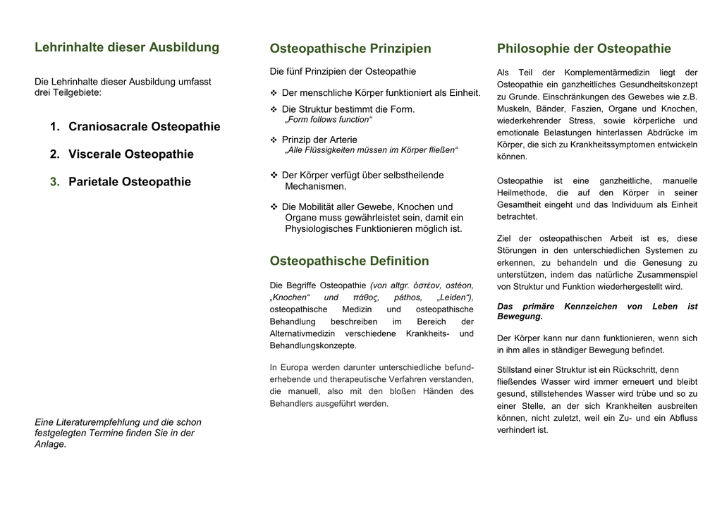 Philosophie der Osteopathie Osteopathische Prinzipien