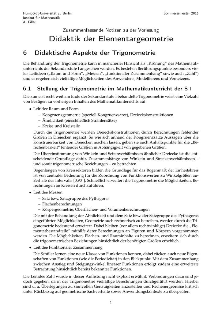 Didaktische Aspekte der Trigonometrie - Humboldt