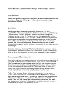 Initiativ-Bewerbung: Communication-Manager - PR