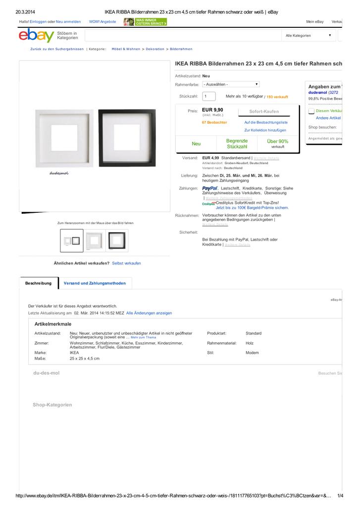 Ikea Ribba Bilderrahmen 23 X 23 Cm 45 Cm Tiefer Rahmen