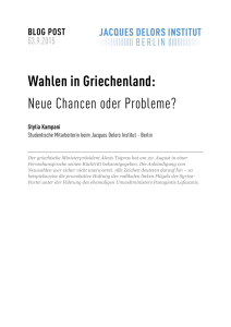 Wahlen in Griechenland - Jacques Delors Institut