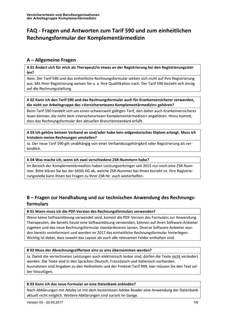 FAQ zum Tarif 590 und zum Rechnungsformular
