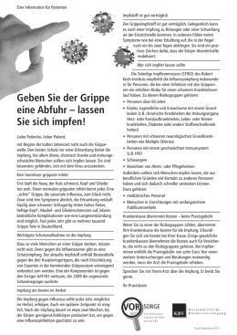 Präventionsinitiative Patienteninformation Grippeschutz