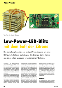 Low-Power-LED-Blitz mit dem Saft der Zitrone