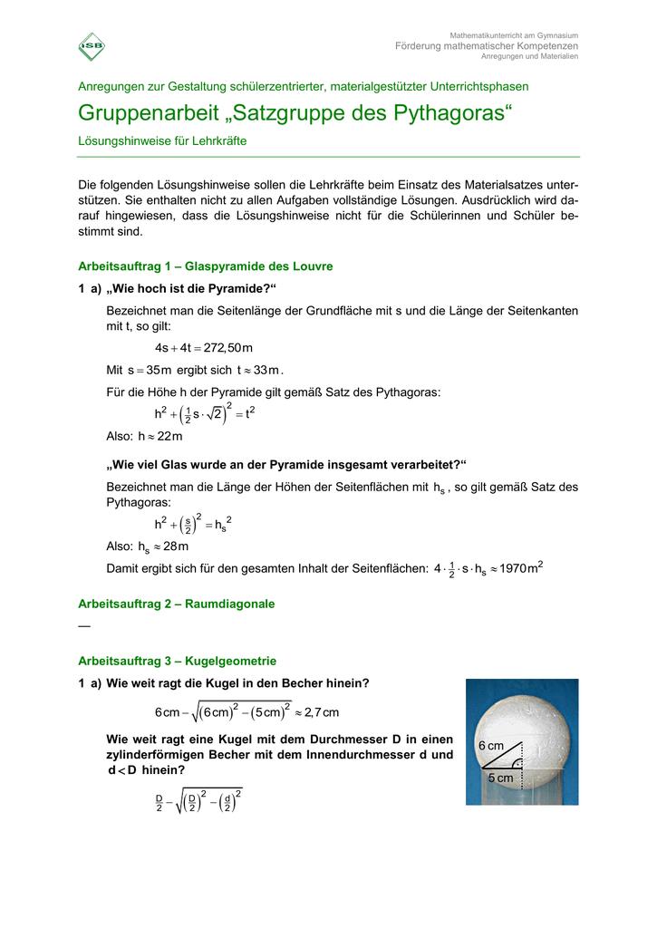 "Gruppenarbeit ""Satzgruppe des Pythagoras"" ( )2"