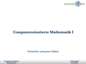 Computerorientierte Mathematik I