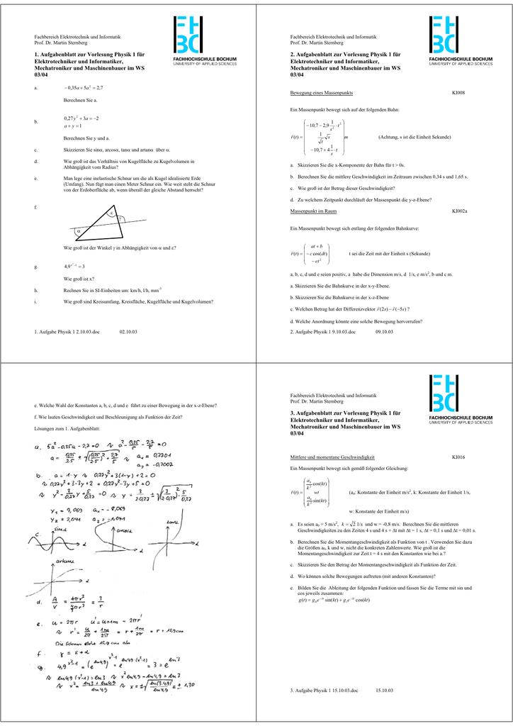 1 aufgabenblatt zur vorlesung physik 1 f r. Black Bedroom Furniture Sets. Home Design Ideas