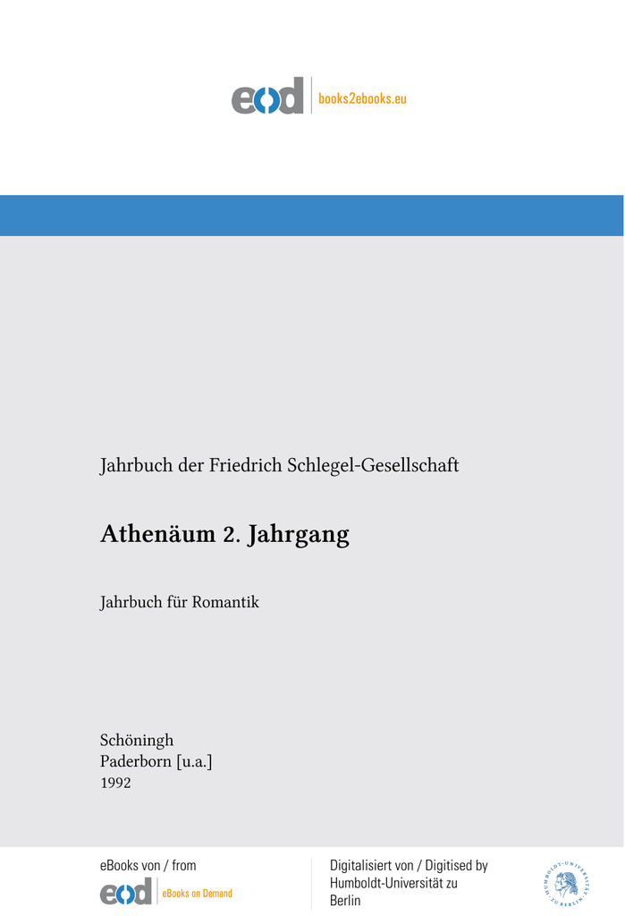 Jahrbuch für Romantik. - Humboldt