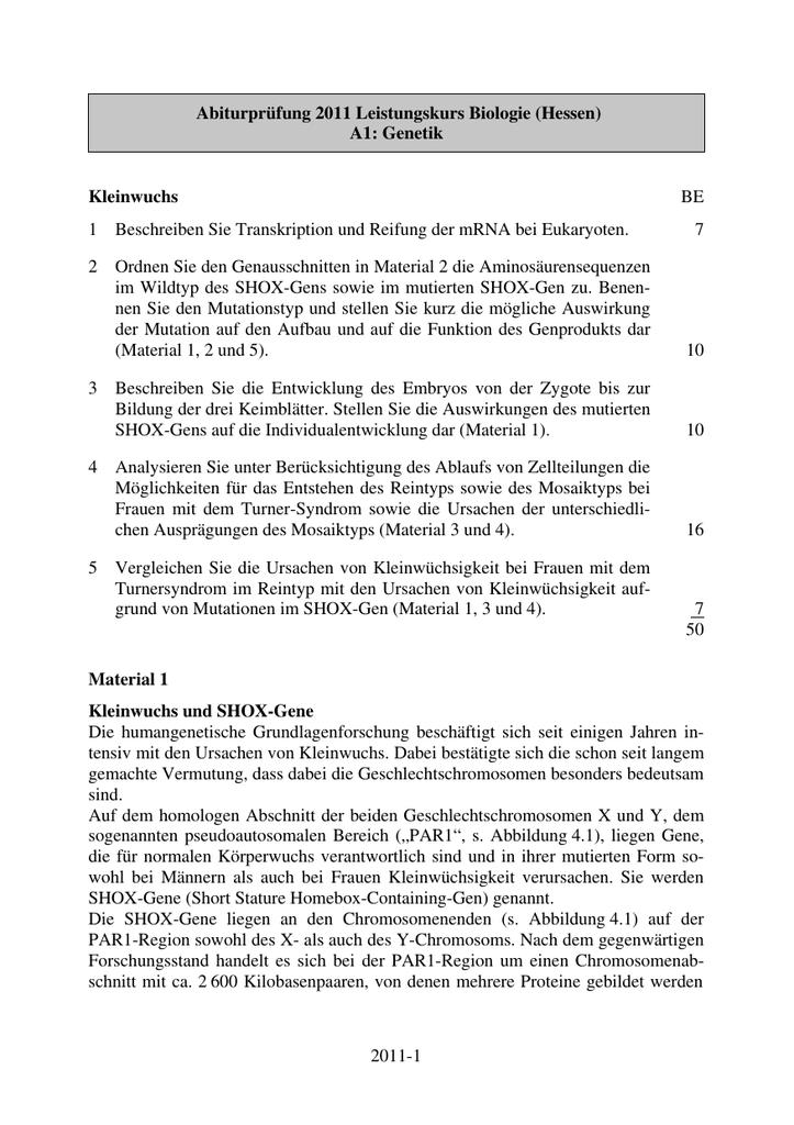 2011-1 Abiturprüfung 2011 Leistungskurs Biologie (Hessen) A1