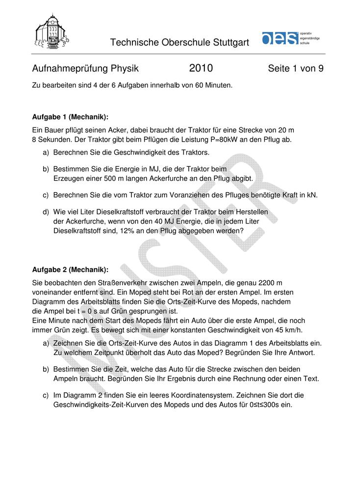 Technische Oberschule Stuttgart Aufnahmeprüfung Physik Seite 1