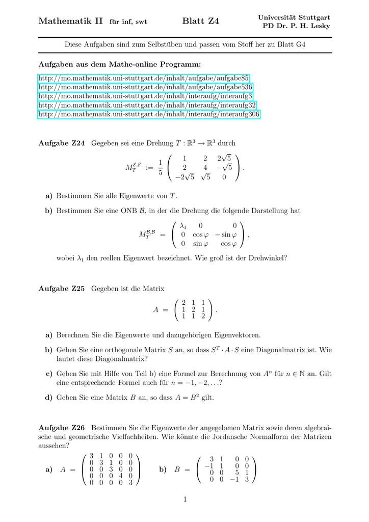 eigenvektor berechnen online