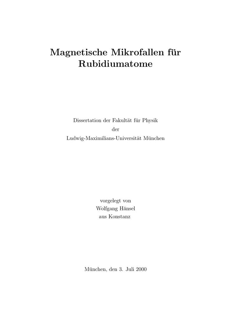Magnetische Mikrofallen für Rubidiumatome