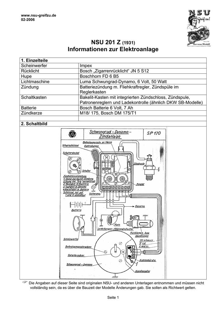 NSU 201 Z (1931) Informationen zur Elektroanlage - NSU