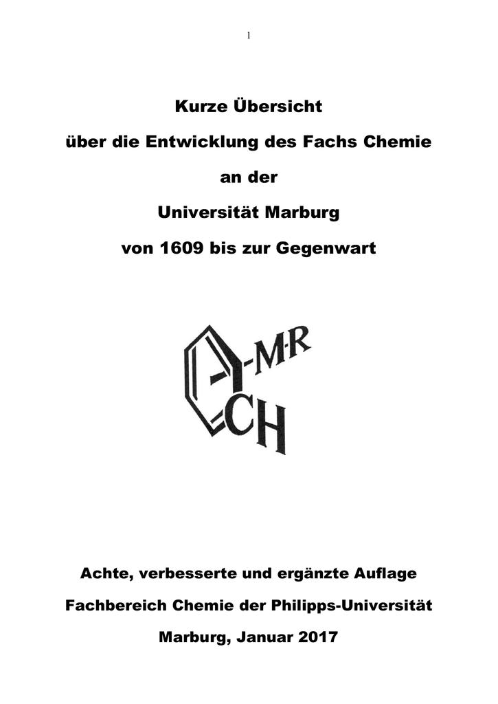 Zur Geschichte des Faches Chemie - Philipps