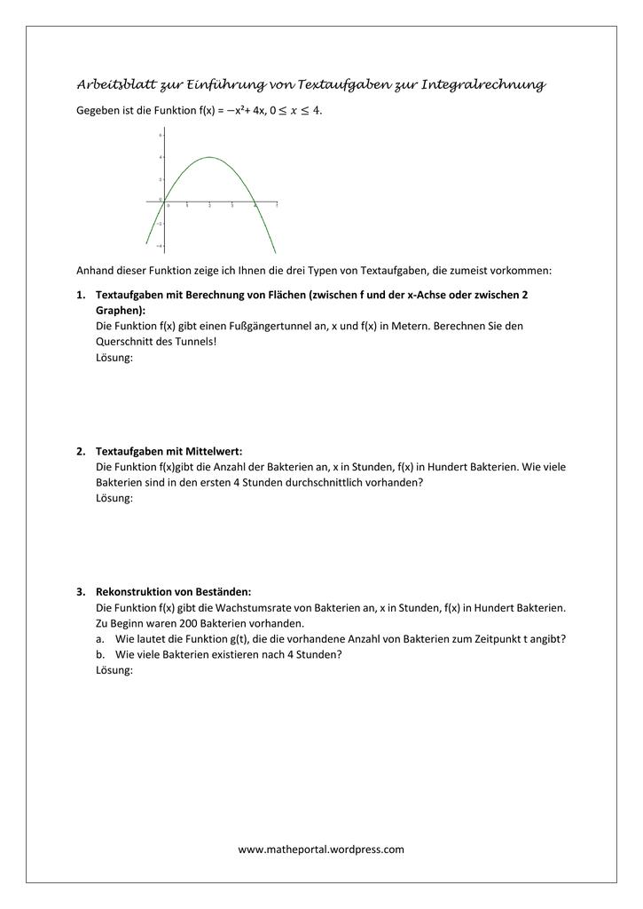 Einführung von Textaufgaben zur Integralrechnung