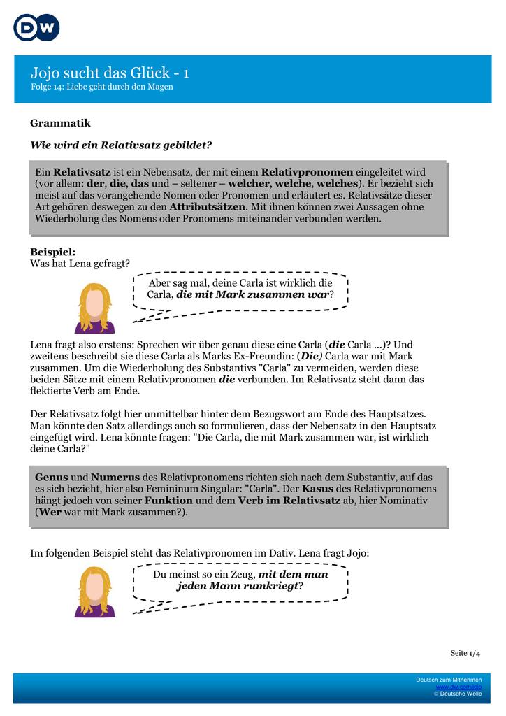 grammatik und aufgaben - Relativpronomen Beispiele