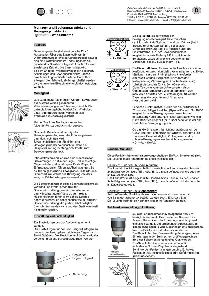 Hervorragend Anleitung Bewegungsmelder NEU August 2013 QG64