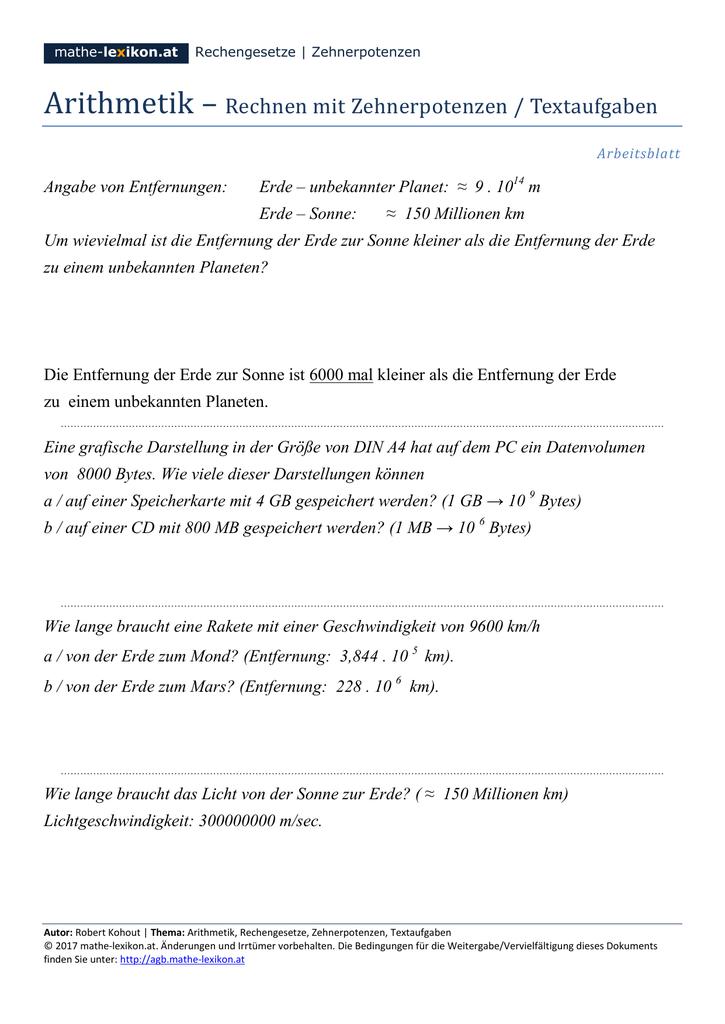 Arithmetik – Rechnen mit Zehnerpotenzen - mathe