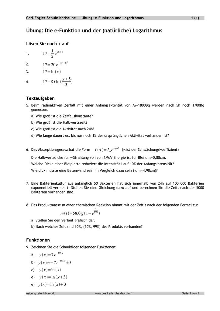 e-Funktion und Logarithmus - Carl-Engler