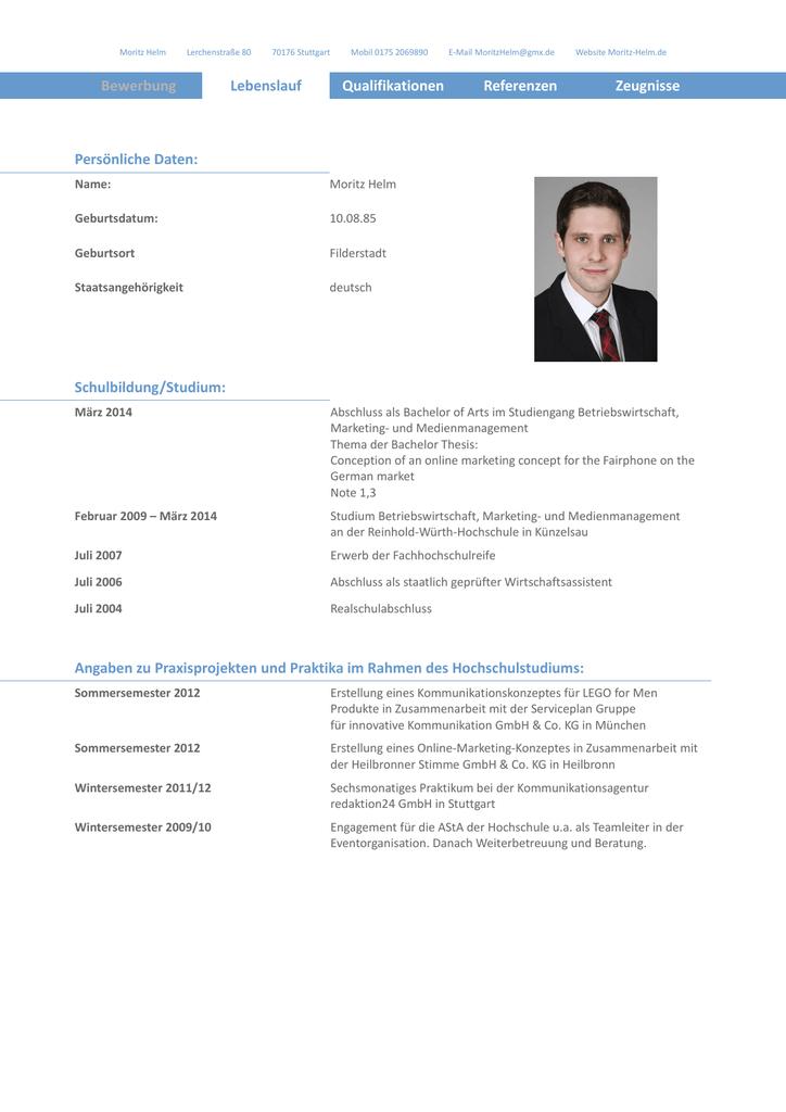 Bewerbung Lebenslauf Qualifikationen Referenzen