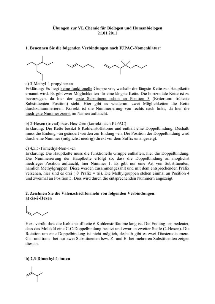 übungen Zur Vl Chemie Für Biologen Und Humanbiologen 2101